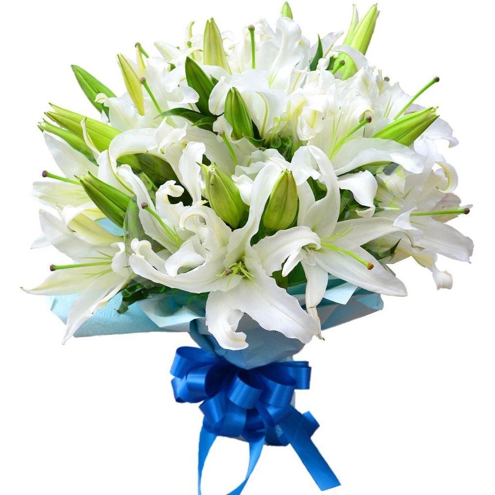 Белые лилии букеты цена